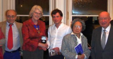 L to R - Alberto Portugheis (BPSE Vice-Chairman), *Kathleen Duncan OBE, *Mihai Ritivoiu, 1st Prize Winner; **Nachiko Brown and **W.C.L. Brown CBE, BPSE Patrons